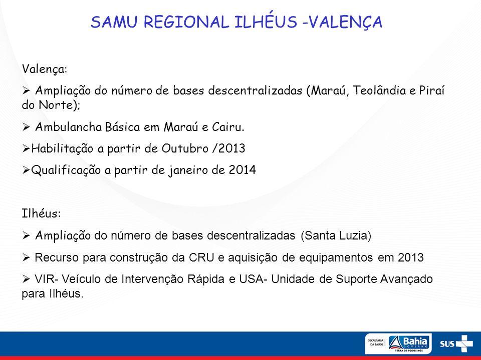 SAMU REGIONAL ILHÉUS -VALENÇA Valença: Ampliação do número de bases descentralizadas (Maraú, Teolândia e Piraí do Norte); Ambulancha Básica em Maraú e