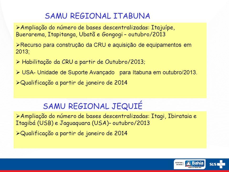 SAMU REGIONAL ITABUNA Ampliação do número de bases descentralizadas: Itajuípe, Buerarema, Itapitanga, Ubatã e Gongogi – outubro/2013 Recurso para cons