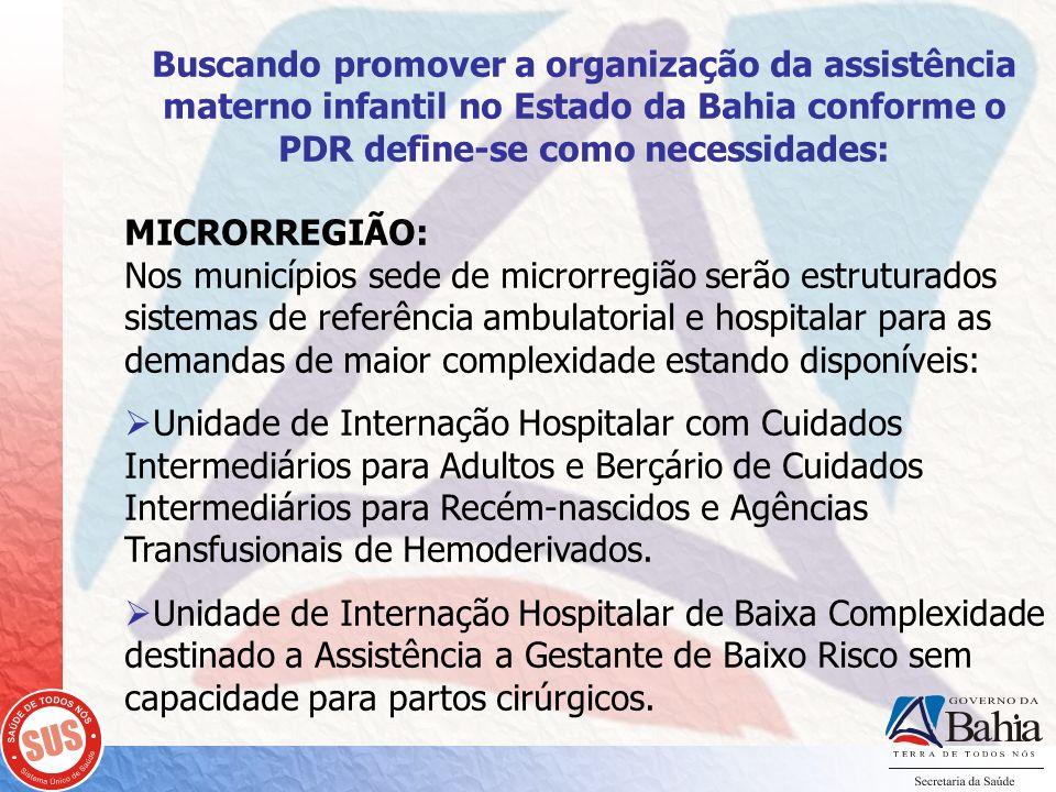 Buscando promover a organização da assistência materno infantil no Estado da Bahia conforme o PDR define-se como necessidades: MICRORREGIÃO: Nos munic