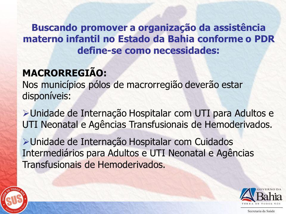 Buscando promover a organização da assistência materno infantil no Estado da Bahia conforme o PDR define-se como necessidades: MACRORREGIÃO: Nos munic