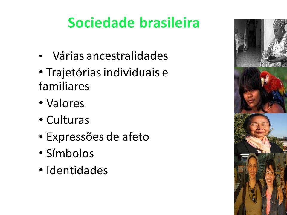 Sociedade brasileira Várias ancestralidades Trajetórias individuais e familiares Valores Culturas Expressões de afeto Símbolos Identidades