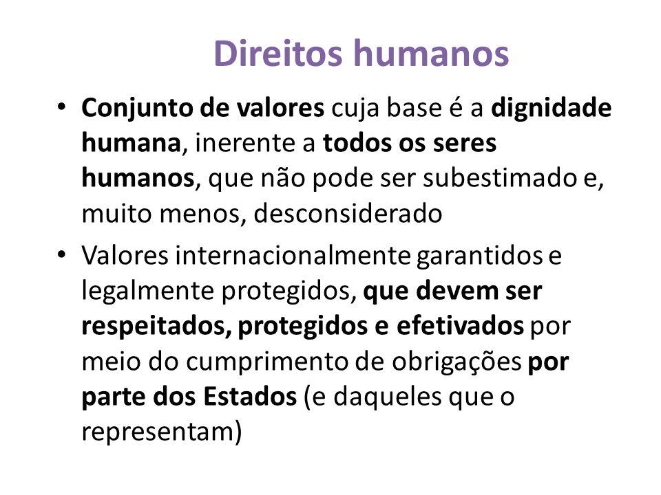 Direitos humanos Conjunto de valores cuja base é a dignidade humana, inerente a todos os seres humanos, que não pode ser subestimado e, muito menos, desconsiderado Valores internacionalmente garantidos e legalmente protegidos, que devem ser respeitados, protegidos e efetivados por meio do cumprimento de obrigações por parte dos Estados (e daqueles que o representam)