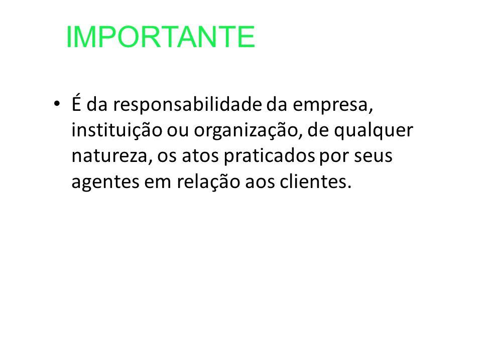 É da responsabilidade da empresa, instituição ou organização, de qualquer natureza, os atos praticados por seus agentes em relação aos clientes.
