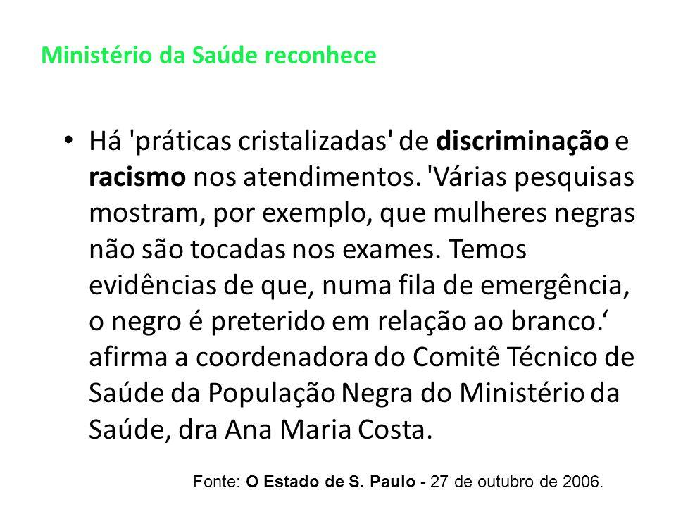 Ministério da Saúde reconhece Há práticas cristalizadas de discriminação e racismo nos atendimentos.