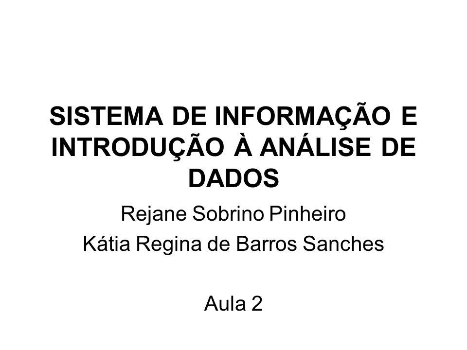 SISTEMA DE INFORMAÇÃO E INTRODUÇÃO À ANÁLISE DE DADOS Rejane Sobrino Pinheiro Kátia Regina de Barros Sanches Aula 2