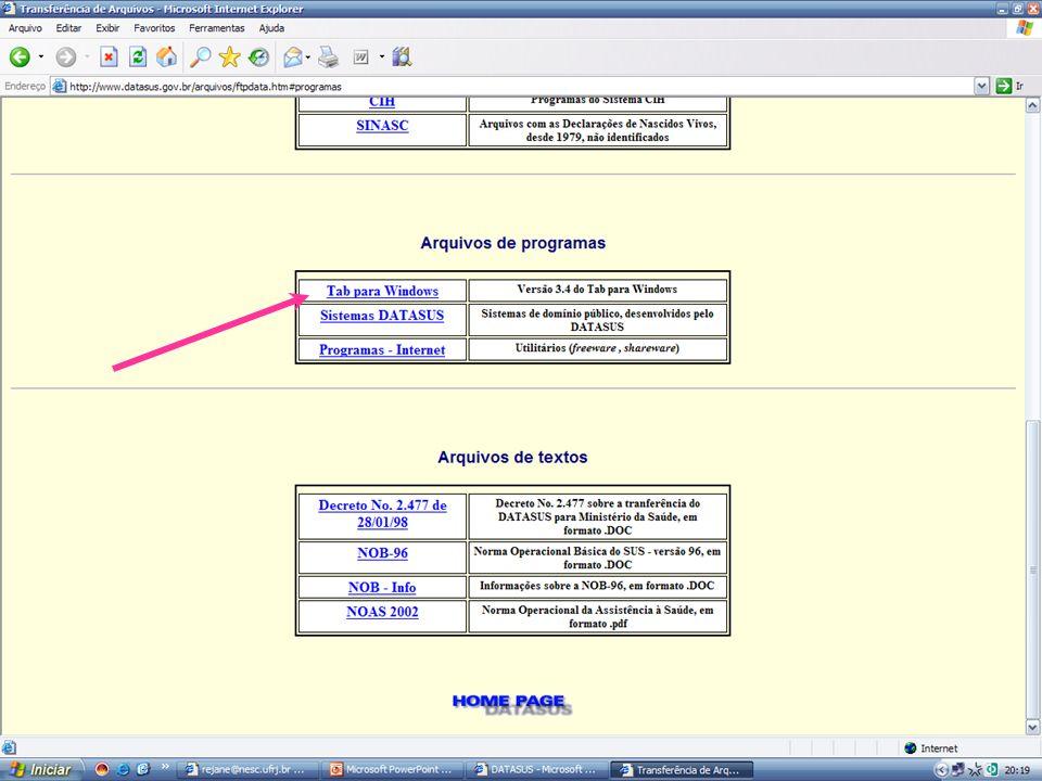 Clicar na barra inferior referente à janela do programa Tabwin