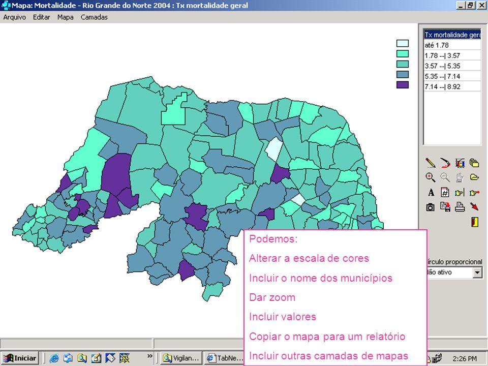 Podemos: Alterar a escala de cores Incluir o nome dos municípios Dar zoom Incluir valores Copiar o mapa para um relatório Incluir outras camadas de ma