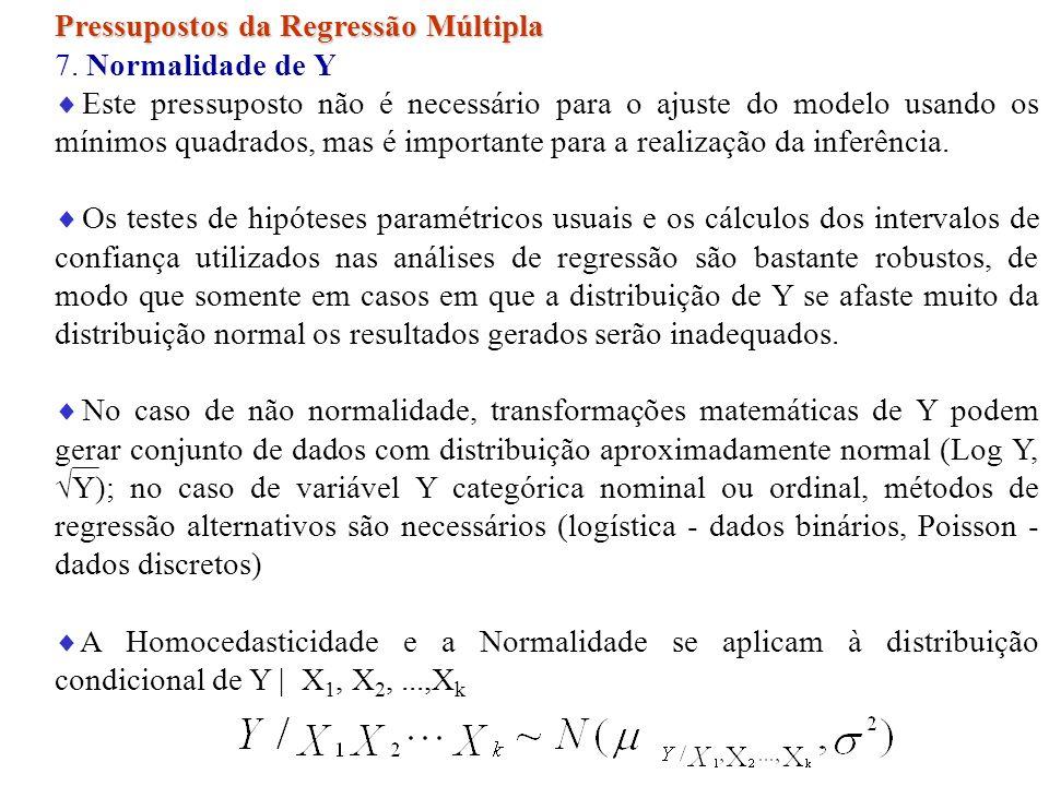 Pressupostos da Regressão Múltipla 7. Normalidade de Y Este pressuposto não é necessário para o ajuste do modelo usando os mínimos quadrados, mas é im