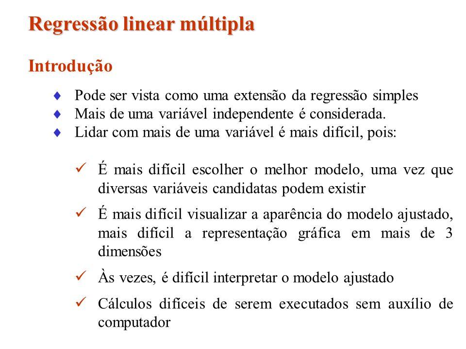 Regressão linear múltipla Introdução Pode ser vista como uma extensão da regressão simples Mais de uma variável independente é considerada. Lidar com