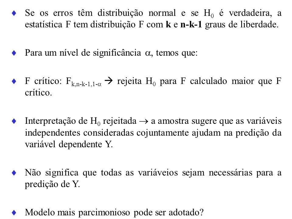 Se os erros têm distribuição normal e se H 0 é verdadeira, a estatística F tem distribuição F com k e n-k-1 graus de liberdade. Para um nível de signi