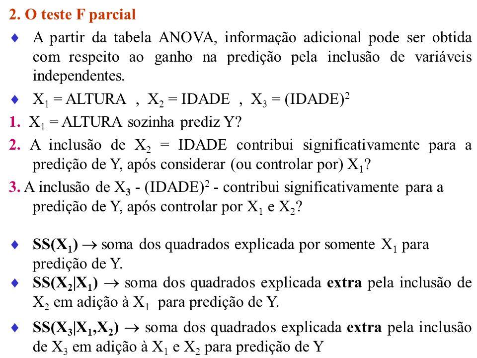 2. O teste F parcial A partir da tabela ANOVA, informação adicional pode ser obtida com respeito ao ganho na predição pela inclusão de variáveis indep