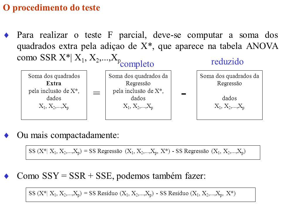 O procedimento do teste Para realizar o teste F parcial, deve-se computar a soma dos quadrados extra pela adiçao de X*, que aparece na tabela ANOVA co
