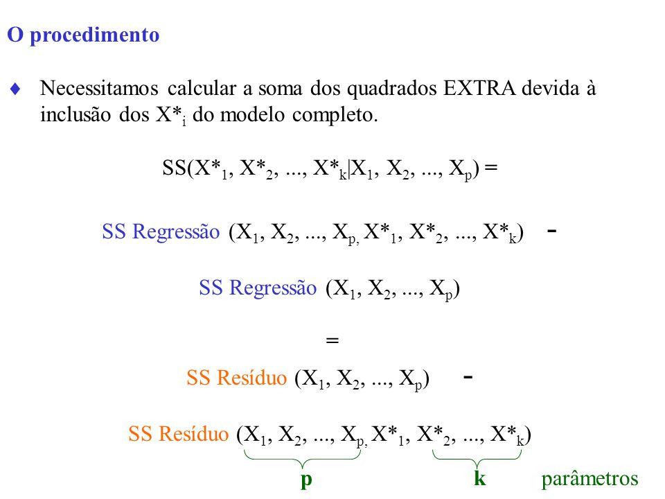 O procedimento Necessitamos calcular a soma dos quadrados EXTRA devida à inclusão dos X* i do modelo completo. SS(X* 1, X* 2,..., X* k |X 1, X 2,...,