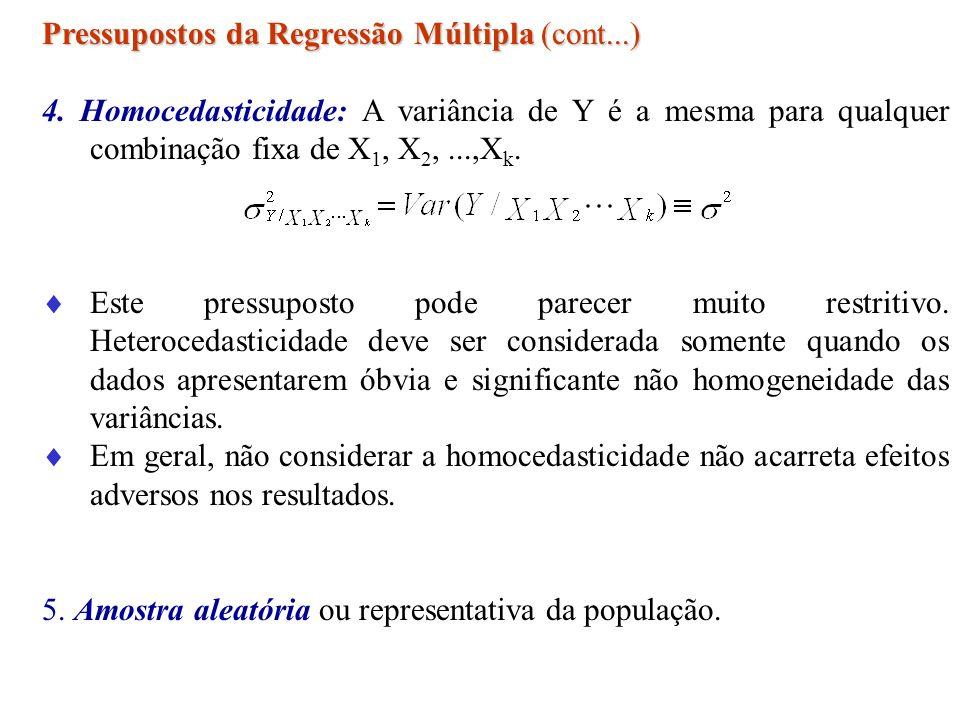 Pressupostos da Regressão Múltipla (cont...) 4. Homocedasticidade: A variância de Y é a mesma para qualquer combinação fixa de X 1, X 2,...,X k. Este
