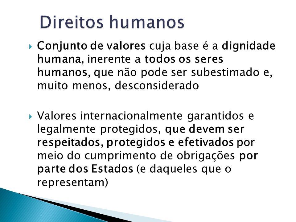 Conjunto de valores cuja base é a dignidade humana, inerente a todos os seres humanos, que não pode ser subestimado e, muito menos, desconsiderado Val