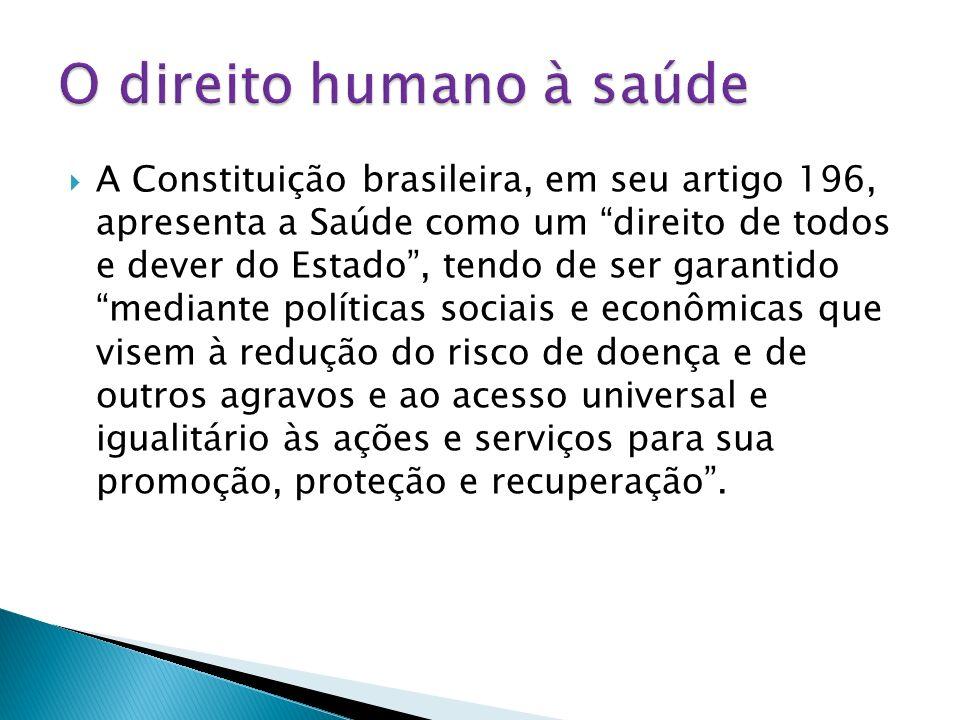 A Constituição brasileira, em seu artigo 196, apresenta a Saúde como um direito de todos e dever do Estado, tendo de ser garantido mediante políticas
