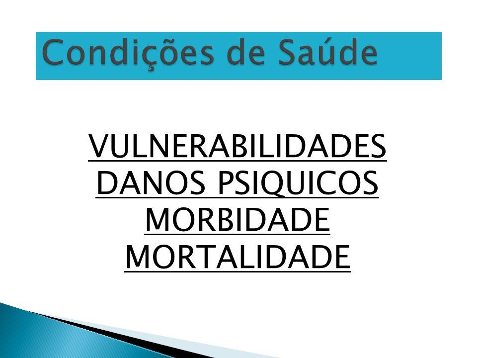 VULNERABILIDADES DANOS PSIQUICOS MORBIDADE MORTALIDADE Condições de Saúde