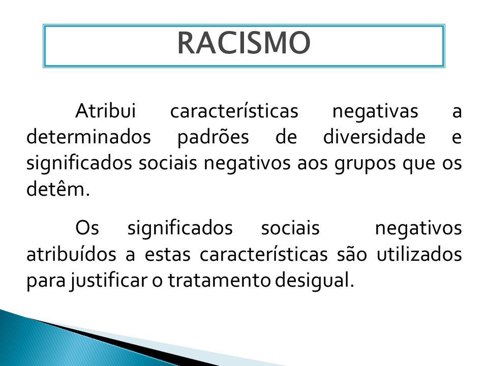 Atribui características negativas a determinados padrões de diversidade e significados sociais negativos aos grupos que os detêm. Os significados soci
