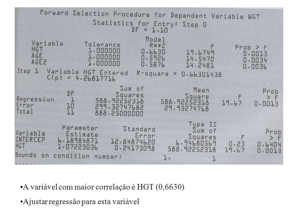 inserir a saída da pg. 397 kleinbaum A variável com maior correlação é HGT (0,6630) Ajustar regressão para esta variável
