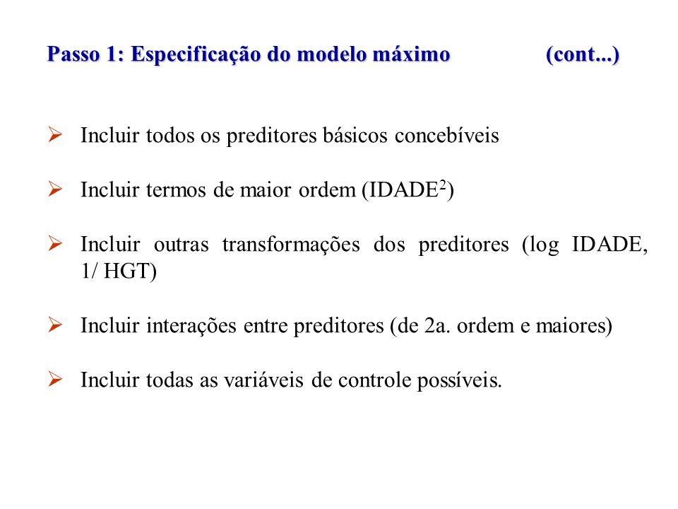 Passo 1: Especificação do modelo máximo (cont...) O super-ajuste de um modelo (incluindo variáveis no modelo que tenham coeficientes da regressão verdadeiros nulos (população) não introduzirá viés na estimativa dos coeficientes da população.