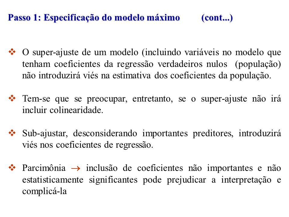 Passo 1: Especificação do modelo máximo (cont...) O super-ajuste de um modelo (incluindo variáveis no modelo que tenham coeficientes da regressão verd