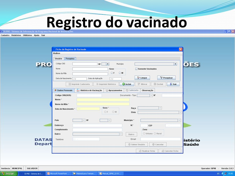 Registro do vacinado