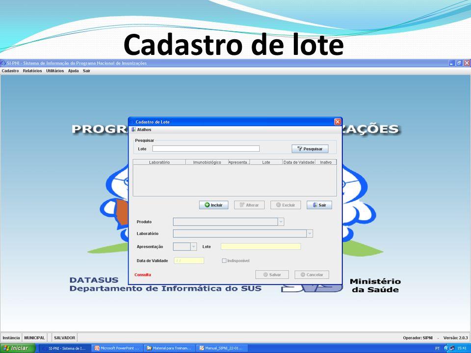 Requisitos de instalação do SIPNI O SIPNI poderá ser instalado em máquinas com a seguinte configuração mínima: Processador: Pentium III (Celeron) Hard disk: 20 GB (~ 500 Mb Livres) Floppy disk: 1.44 MB Unidade óptica: Leitor de CD-ROM Memória: 256 MB