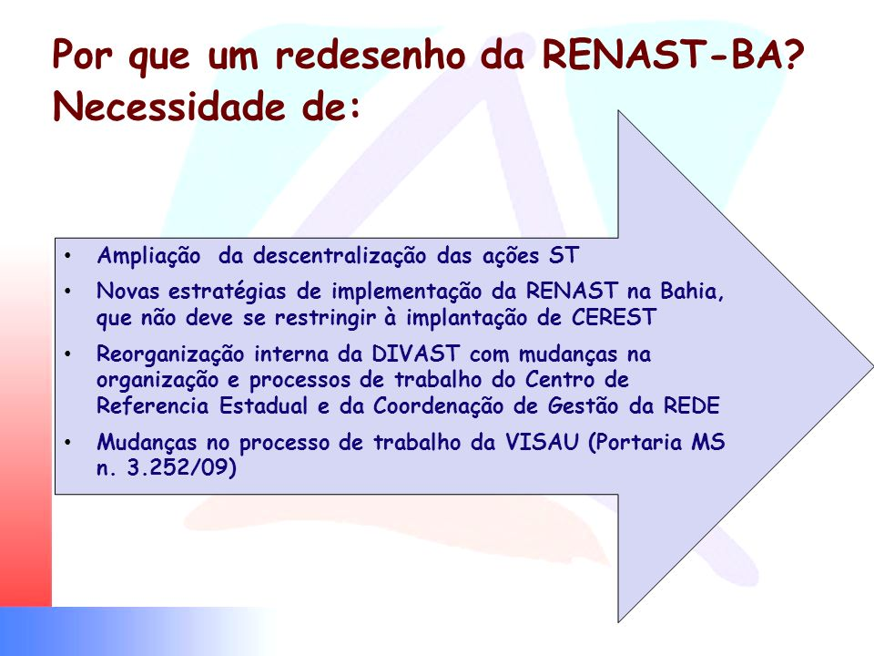 Por que um redesenho da RENAST-BA? Necessidade de: Ampliação da descentralização das ações ST Novas estratégias de implementação da RENAST na Bahia, q