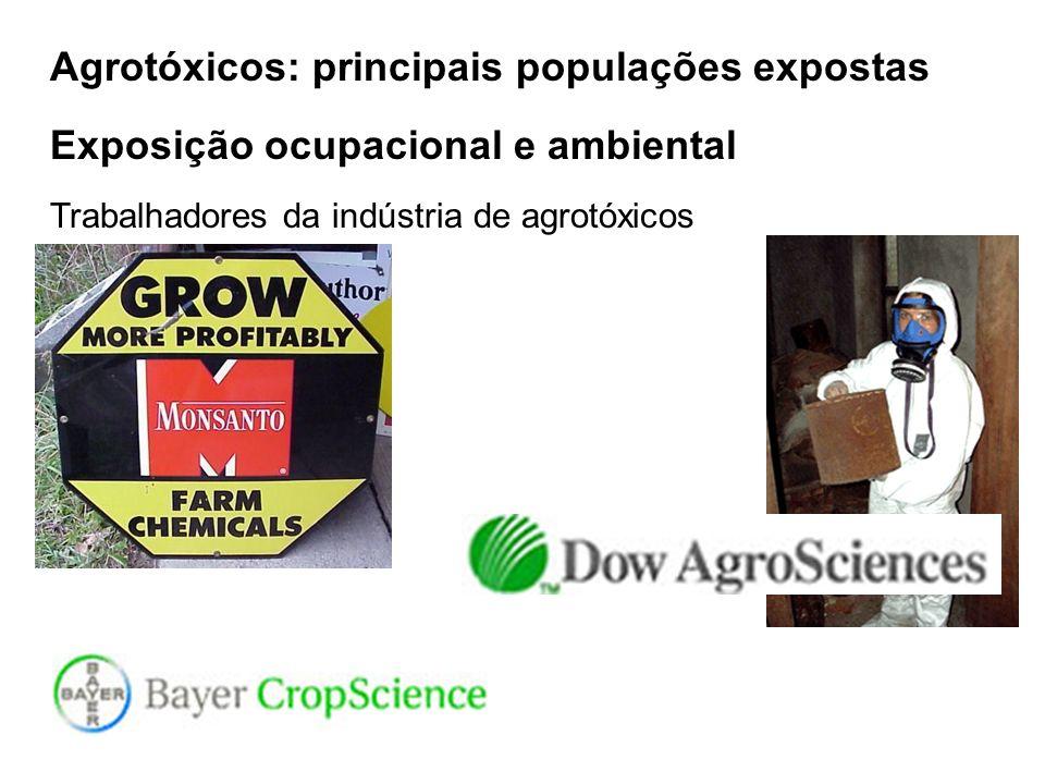 Agrotóxicos: principais populações expostas Exposição ocupacional e ambiental Trabalhadores da indústria de agrotóxicos