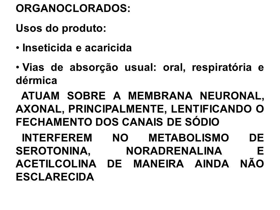 ORGANOCLORADOS: Usos do produto: Inseticida e acaricida Vias de absorção usual: oral, respiratória e dérmica ATUAM SOBRE A MEMBRANA NEURONAL, AXONAL, PRINCIPALMENTE, LENTIFICANDO O FECHAMENTO DOS CANAIS DE SÓDIO INTERFEREM NO METABOLISMO DE SEROTONINA, NORADRENALINA E ACETILCOLINA DE MANEIRA AINDA NÃO ESCLARECIDA