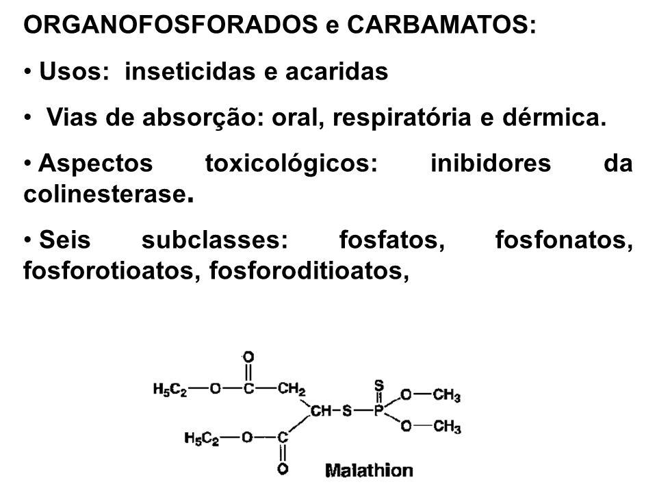 ORGANOFOSFORADOS e CARBAMATOS: Usos: inseticidas e acaridas Vias de absorção: oral, respiratória e dérmica.
