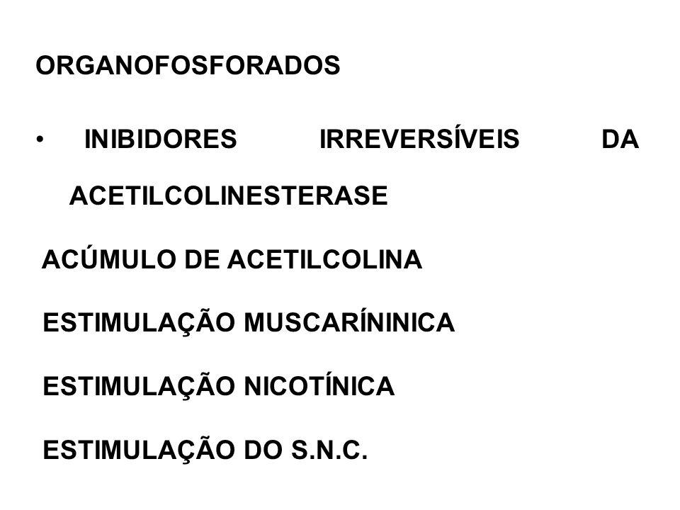ORGANOFOSFORADOS INIBIDORES IRREVERSÍVEIS DA ACETILCOLINESTERASE ACÚMULO DE ACETILCOLINA ESTIMULAÇÃO MUSCARÍNINICA ESTIMULAÇÃO NICOTÍNICA ESTIMULAÇÃO DO S.N.C.