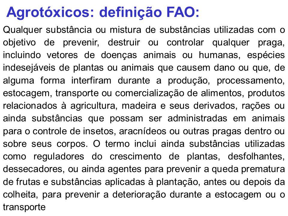 Quanto ao organismo a que se destina controlar (uso) Inseticidas Herbicidas Fungicidas Acaricidas Outros – Desfolhantes, dessecadores Raticidas Moluscicida Agrotóxicos: classificação