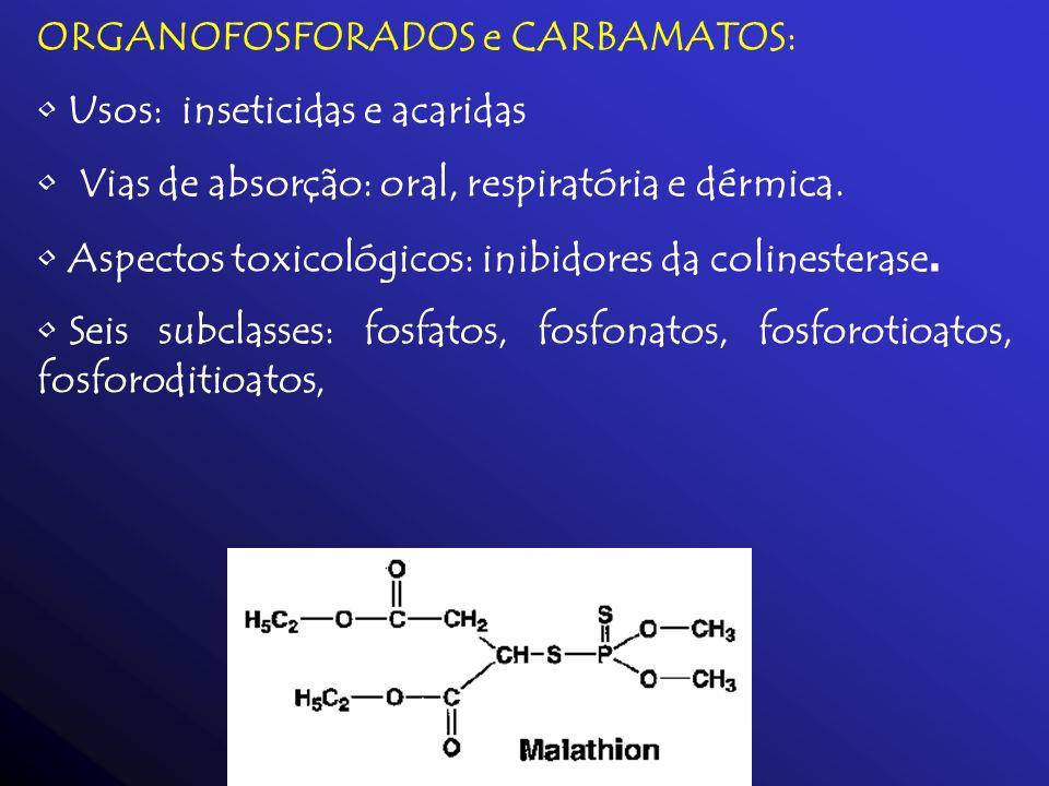 ORGANOFOSFORADOS e CARBAMATOS: Usos: inseticidas e acaridas Vias de absorção: oral, respiratória e dérmica. Aspectos toxicológicos: inibidores da coli