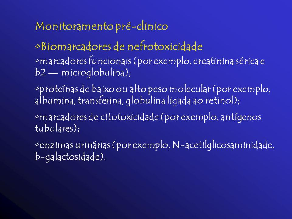 Monitoramento pré-clinico Biomarcadores de nefrotoxicidade marcadores funcionais (por exemplo, creatinina sérica e b2 microglobulina); proteínas de ba