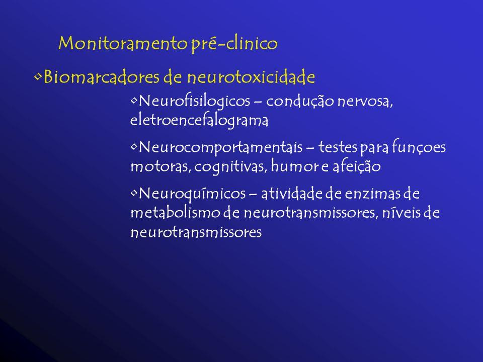 Monitoramento pré-clinico Biomarcadores de neurotoxicidade Neurofisilogicos – condução nervosa, eletroencefalograma Neurocomportamentais – testes para