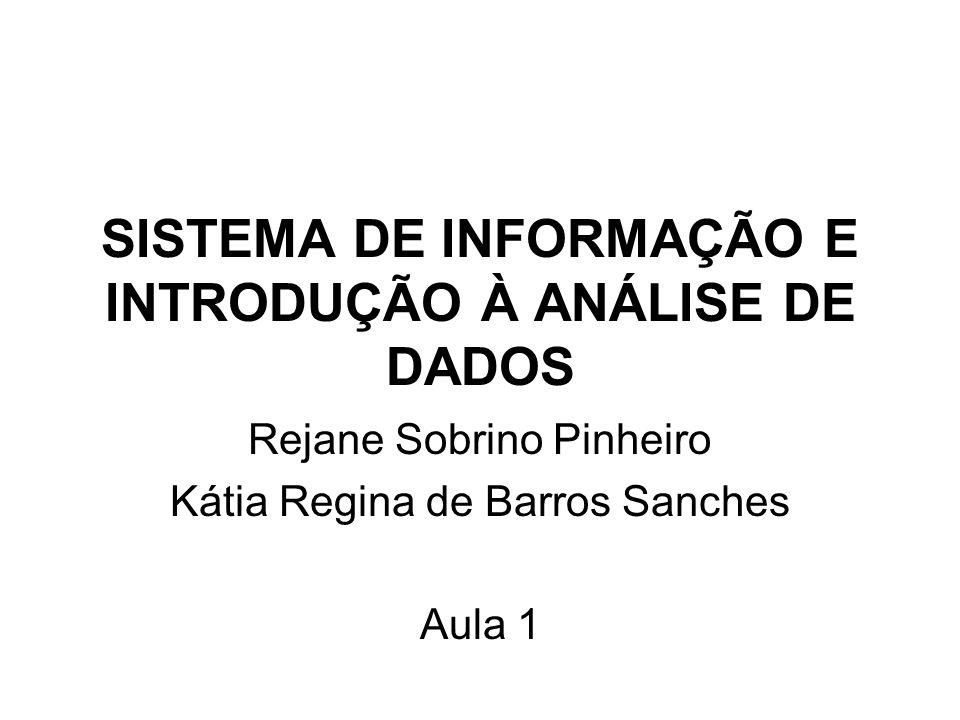 SISTEMA DE INFORMAÇÃO E INTRODUÇÃO À ANÁLISE DE DADOS Rejane Sobrino Pinheiro Kátia Regina de Barros Sanches Aula 1