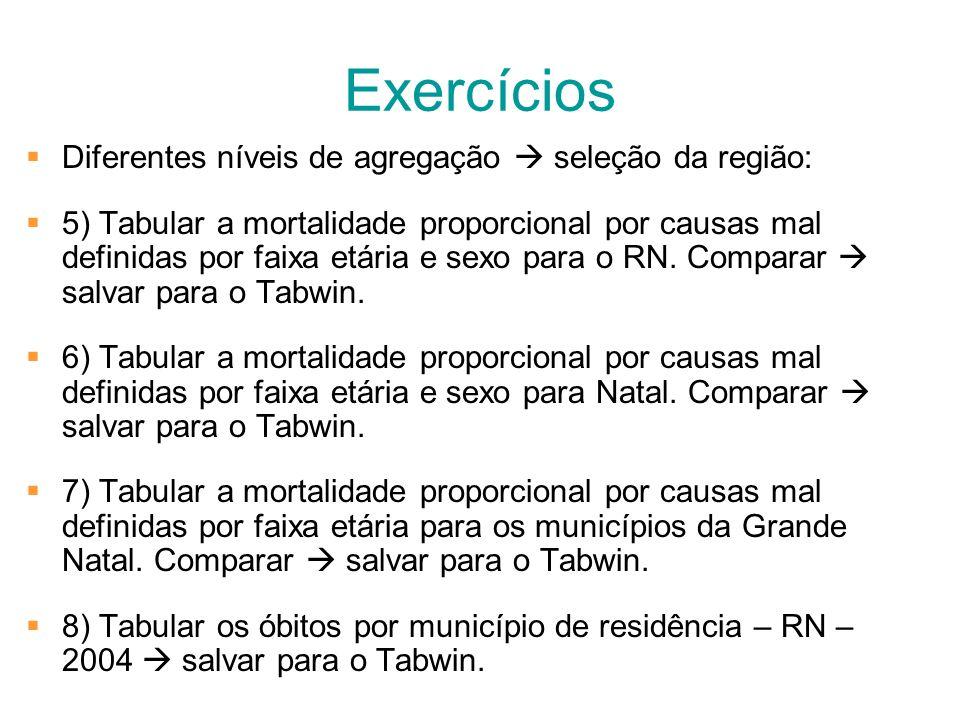 Exercícios Diferentes níveis de agregação seleção da região: 5) Tabular a mortalidade proporcional por causas mal definidas por faixa etária e sexo pa