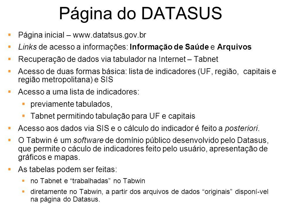 Página do DATASUS Página inicial – www.datatsus.gov.br Links de acesso a informações: Informação de Saúde e Arquivos Recuperação de dados via tabulado