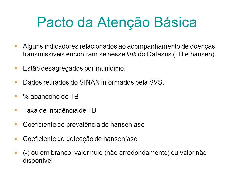 Pacto da Atenção Básica Alguns indicadores relacionados ao acompanhamento de doenças transmissíveis encontram-se nesse link do Datasus (TB e hansen).