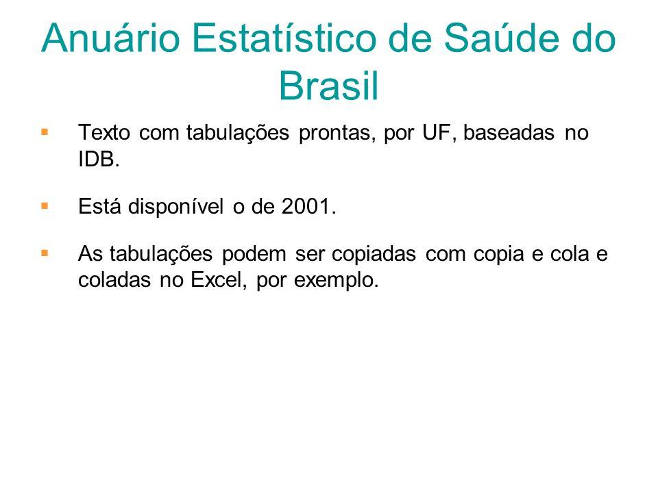 Anuário Estatístico de Saúde do Brasil Texto com tabulações prontas, por UF, baseadas no IDB. Está disponível o de 2001. As tabulações podem ser copia