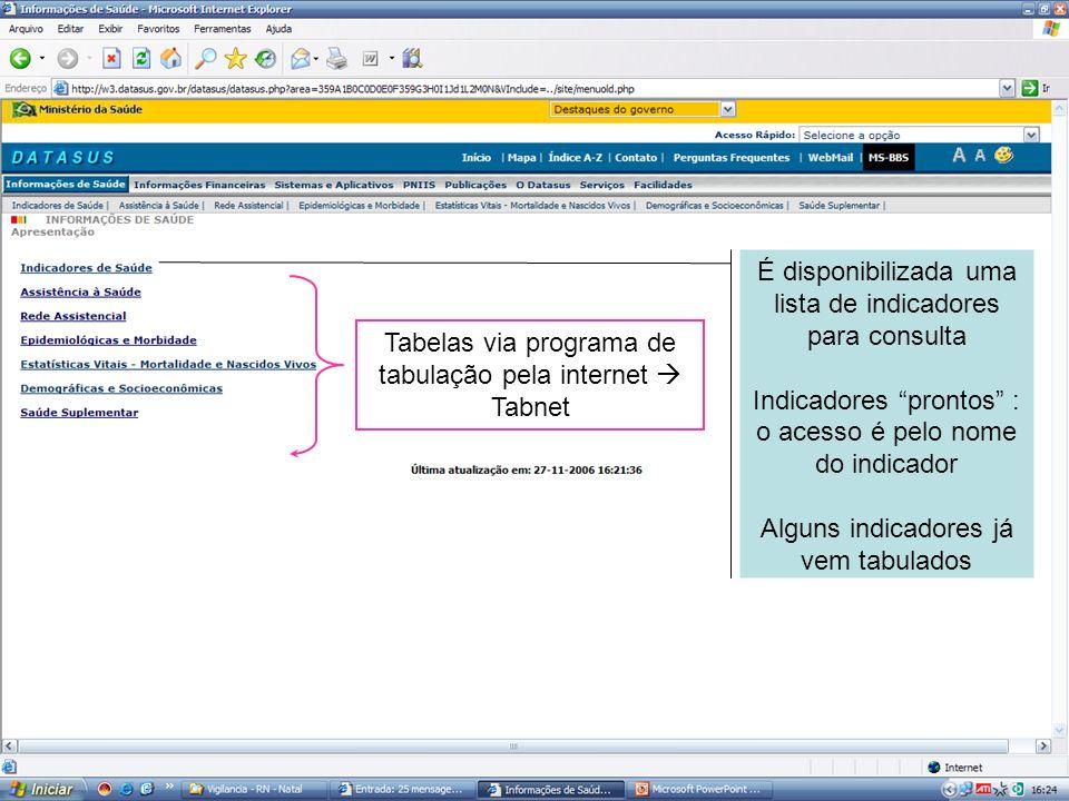É disponibilizada uma lista de indicadores para consulta Indicadores prontos : o acesso é pelo nome do indicador Alguns indicadores já vem tabulados T