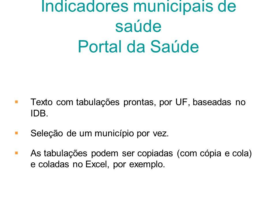 Indicadores municipais de saúde Portal da Saúde Texto com tabulações prontas, por UF, baseadas no IDB. Seleção de um município por vez. As tabulações