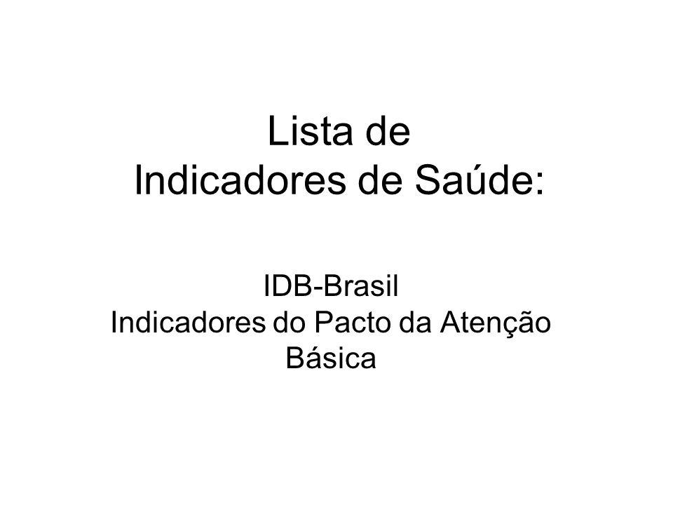 Lista de Indicadores de Saúde: IDB-Brasil Indicadores do Pacto da Atenção Básica