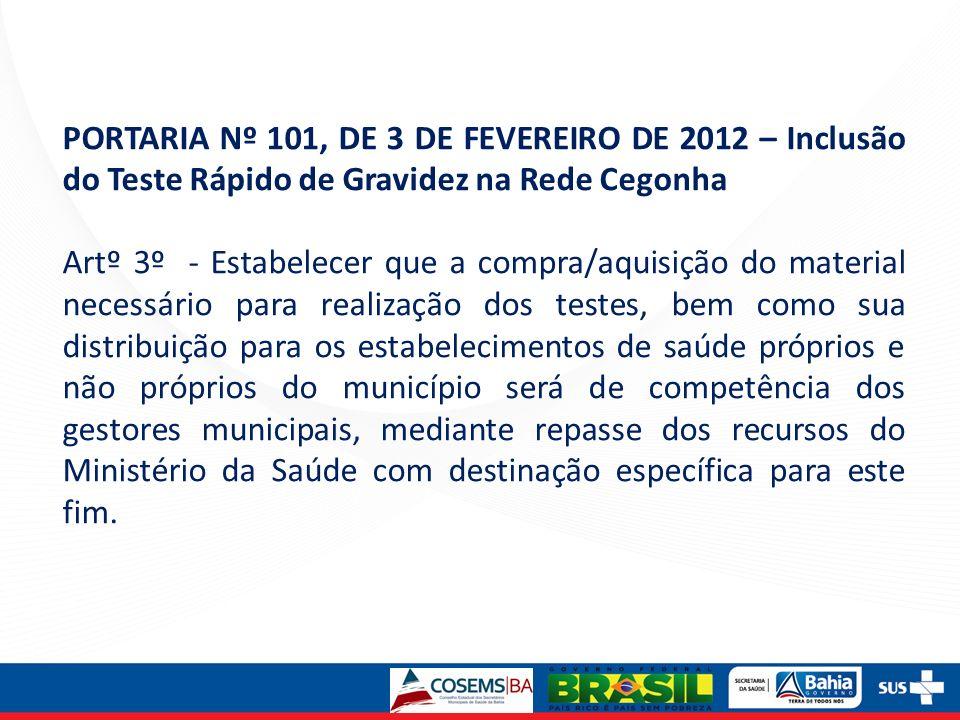 PORTARIA Nº 101, DE 3 DE FEVEREIRO DE 2012 – Inclusão do Teste Rápido de Gravidez na Rede Cegonha Artº 3º - Estabelecer que a compra/aquisição do mate