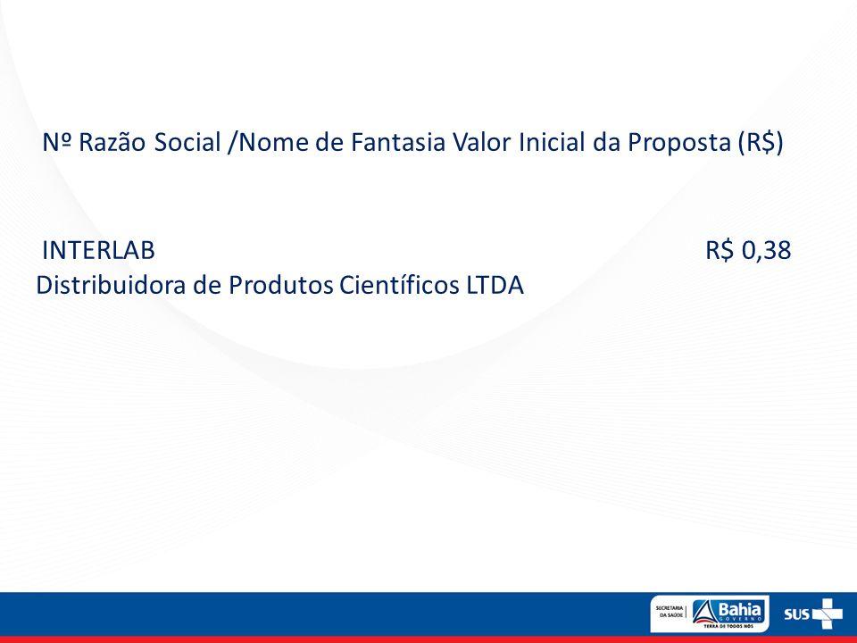 Nº Razão Social /Nome de Fantasia Valor Inicial da Proposta (R$) INTERLAB R$ 0,38 Distribuidora de Produtos Científicos LTDA