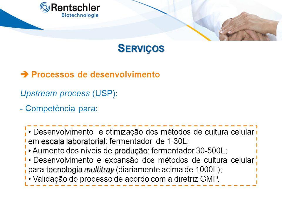 S ERVIÇOS Processos de desenvolvimento Upstream process (USP): - Competência para: escala laboratorial Desenvolvimento e otimização dos métodos de cul