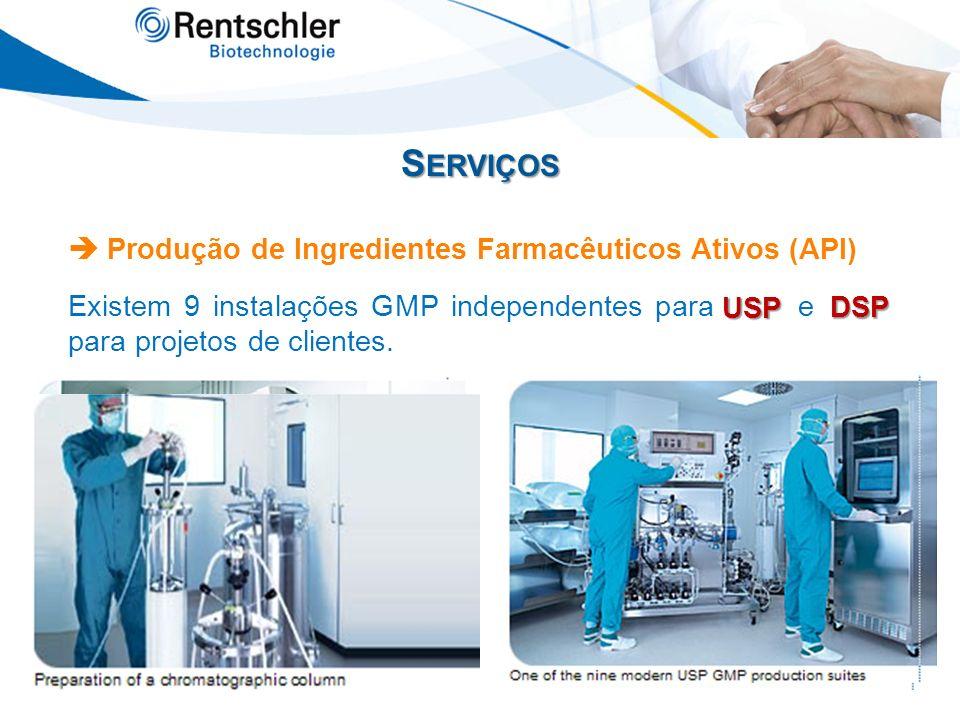 S ERVIÇOS Produção de Ingredientes Farmacêuticos Ativos (API) Existem 9 instalações GMP independentes para USP e DSP, para projetos de clientes. USP D