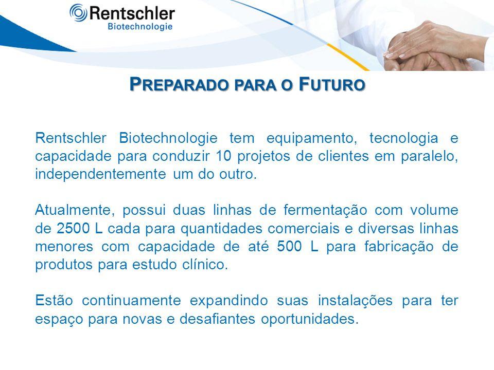 P REPARADO PARA O F UTURO Rentschler Biotechnologie tem equipamento, tecnologia e capacidade para conduzir 10 projetos de clientes em paralelo, indepe