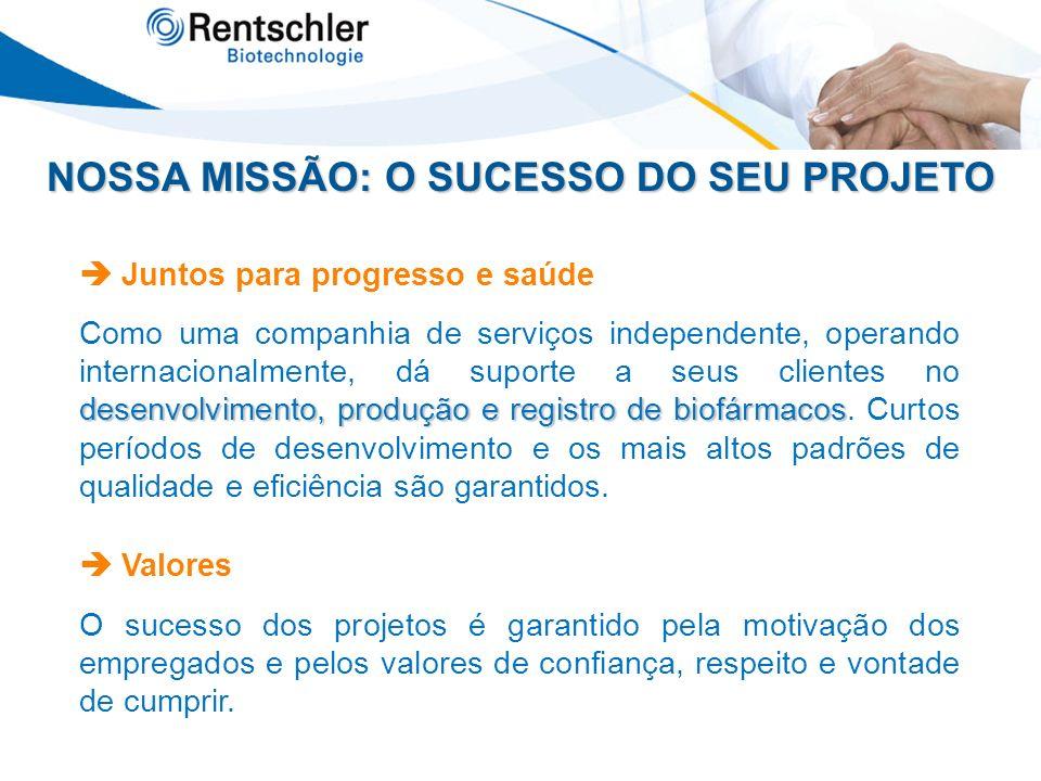 NOSSA MISSÃO: O SUCESSO DO SEU PROJETO Juntos para progresso e saúde desenvolvimento, produção e registro de biofármacos Como uma companhia de serviço